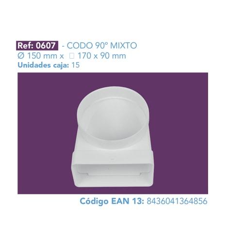 CODO 90º MIXTO 150 MM X 170 X 90 MM