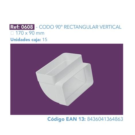 CODO 90º RECTANGULAR VERTICAL 170 X 90 MM