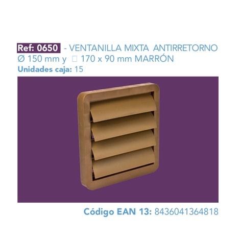 VENTANILLA MIXTA ANTIRRETORNO 150 MM Y 170 X 90 MM MARRÓN