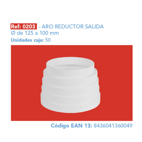 ARO REDUCTOR SALIDA Ø 125 A 100 MM