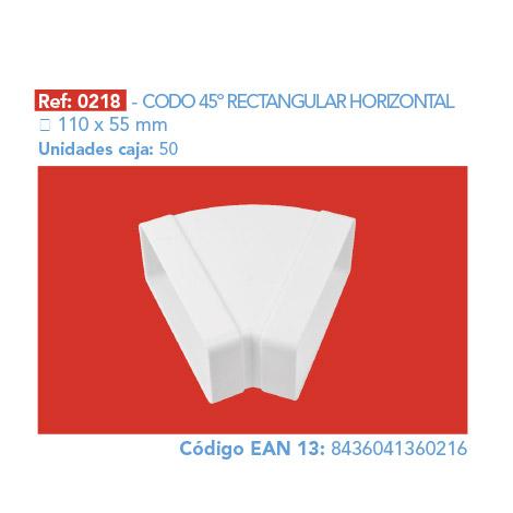 CODO 45º RECTANGULAR HORIZONTAL 110 X 55 MM