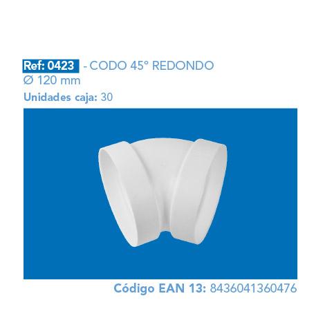 CODO 45º REDONDO Ø 120 MM