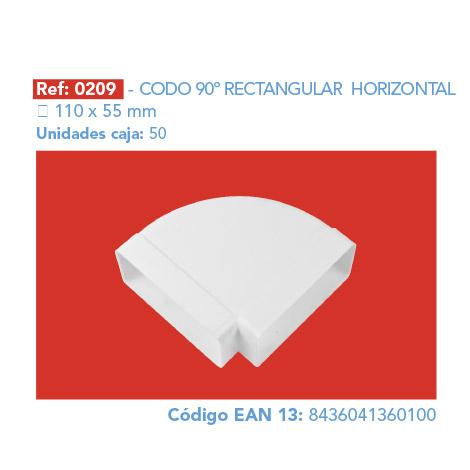 CODO 90º RECTANGULAR HORIZONTAL 110 X 55 MM