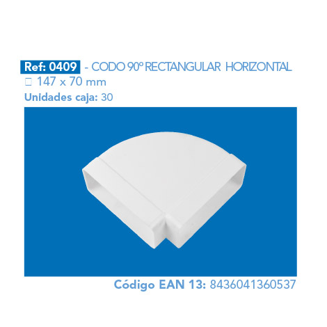 CODO 90º RECTANGULAR HORIZONTAL 147 X 70 MM