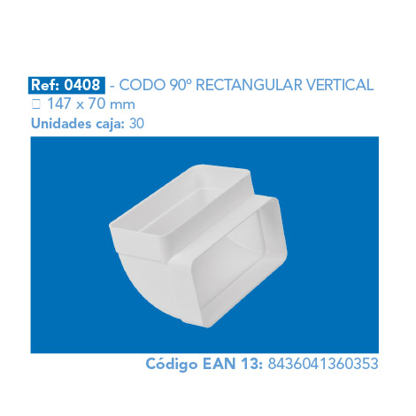 CODO 90º RECTANGULAR VERTICAL 147 X 70 MM