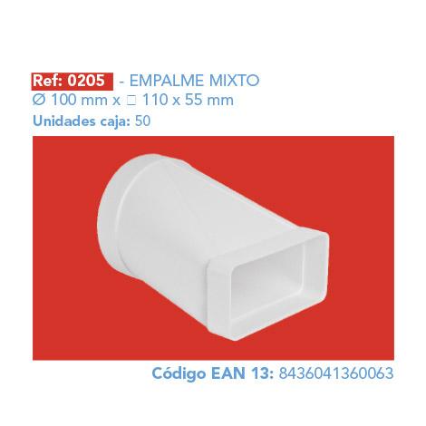 EMPALME MIXTO Ø 100 MM 110 X 55 MM