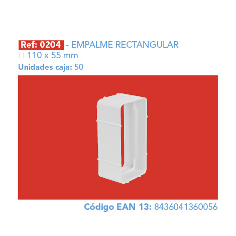 EMPALME RECTANGULAR 110 X 55 MM