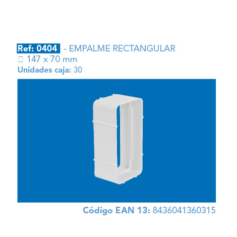EMPALME RECTANGULAR 147 X 70 MM