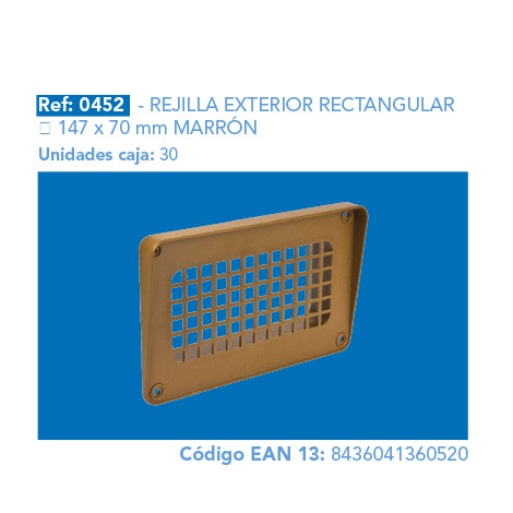 REJILLA EXT.       RECTANGULAR 147 X 70 MM MARRÓN