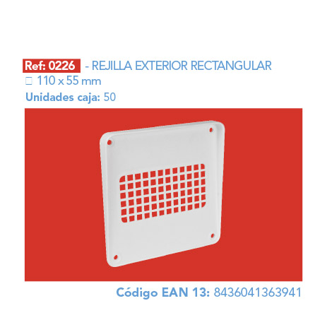 REJILLA       EXTERIOR RECTANGULAR 110 X 55 MM