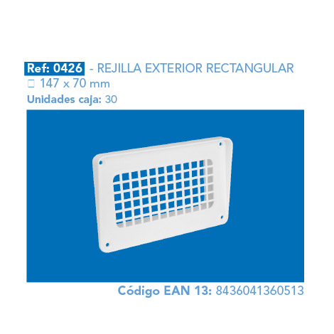 REJILLA       EXTERIOR RECTANGULAR 147 X 70 MM