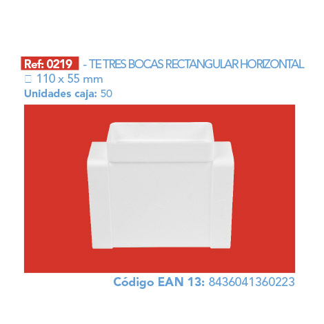 TE TRES BOCAS RECTANGULAR HORIZONTAL 110 X 55 MM