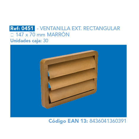 VENTANILLA EXT.      RECTANGULAR 147 X 70 MM MARRÓN