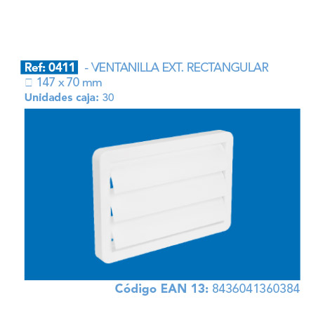 VENTANILLA EXT.      RECTANGULAR 147 X 70 MM
