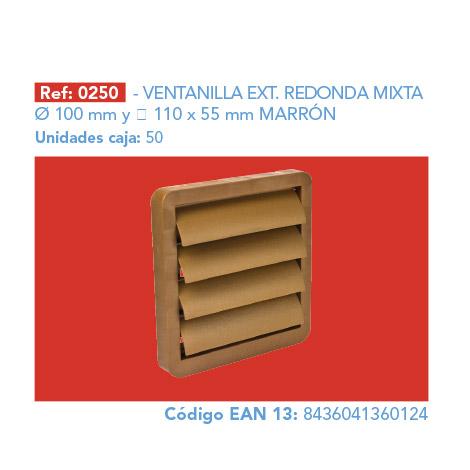 VENTANILLA EXT.      RED.MIXTA Ø 100/110 X 55 MM MARRÓN