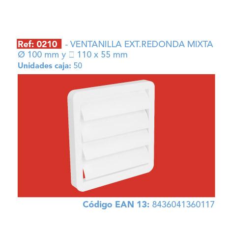 VENTANILLA EXT.      REDONDA MIXTA Ø 100 MM 110 X 55 MM
